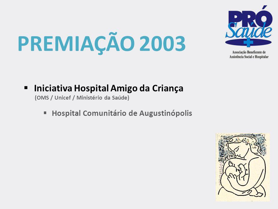 PREMIAÇÃO 2011  Hospital e Maternidade Pública Dona Regina Siqueira Campos  Referência Regional no Método Canguru (Ministério da Saúde)