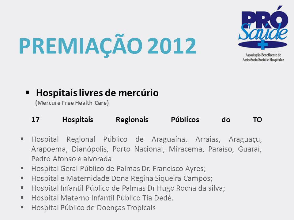 PREMIAÇÃO 2012  Programa de Internação Domiciliar do Hospital Geral Público de Palmas  8º Prêmio da Federação Brasileira de Administradores Hospitalares