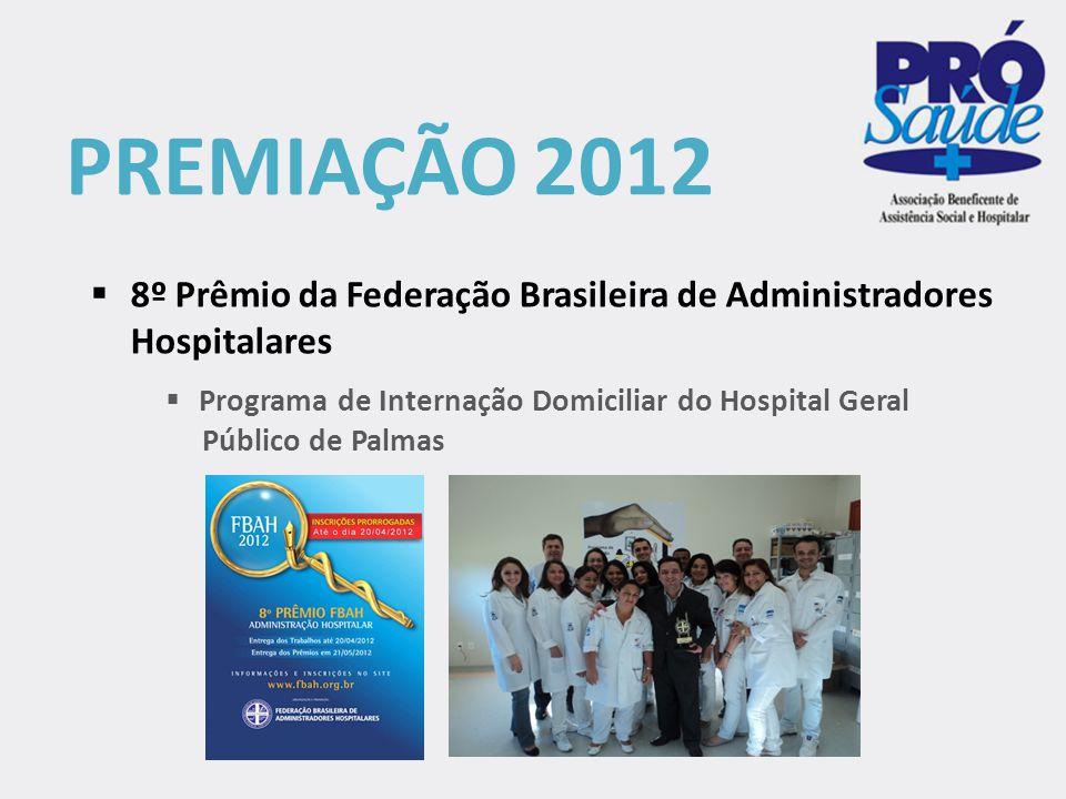 PREMIAÇÃO 2012  Programa de Internação Domiciliar do Hospital Geral Público de Palmas  8º Prêmio da Federação Brasileira de Administradores Hospital
