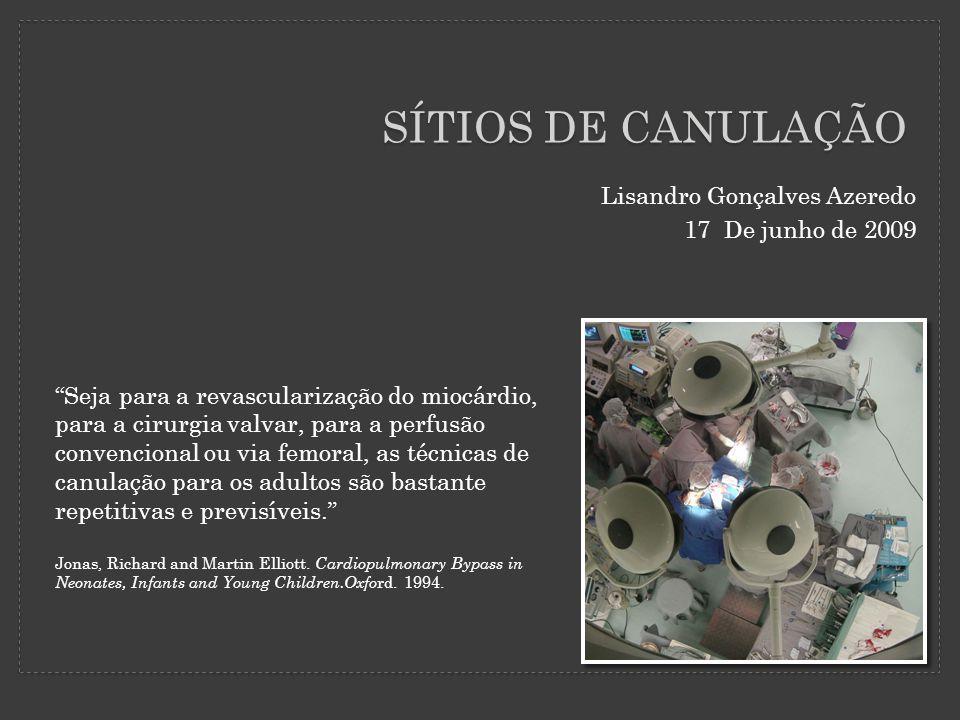 """SÍTIOS DE CANULAÇÃO Lisandro Gonçalves Azeredo 17 De junho de 2009 """"Seja para a revascularização do miocárdio, para a cirurgia valvar, para a perfusão"""