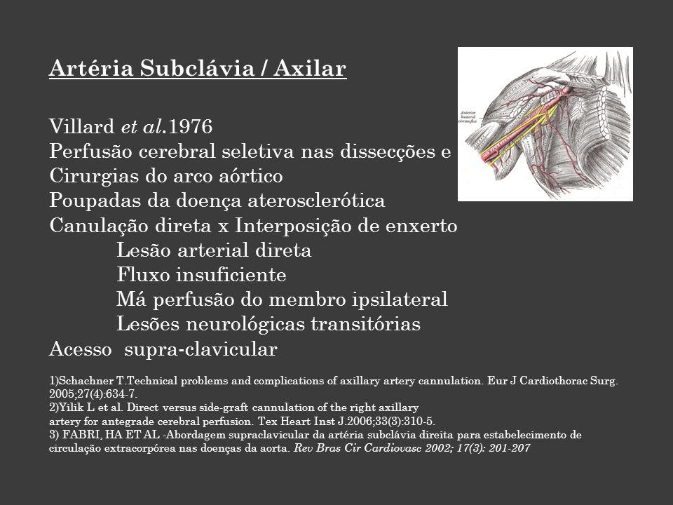 Artéria Subclávia / Axilar Villard et al. 1976 Perfusão cerebral seletiva nas dissecções e Cirurgias do arco aórtico Poupadas da doença aterosclerótic