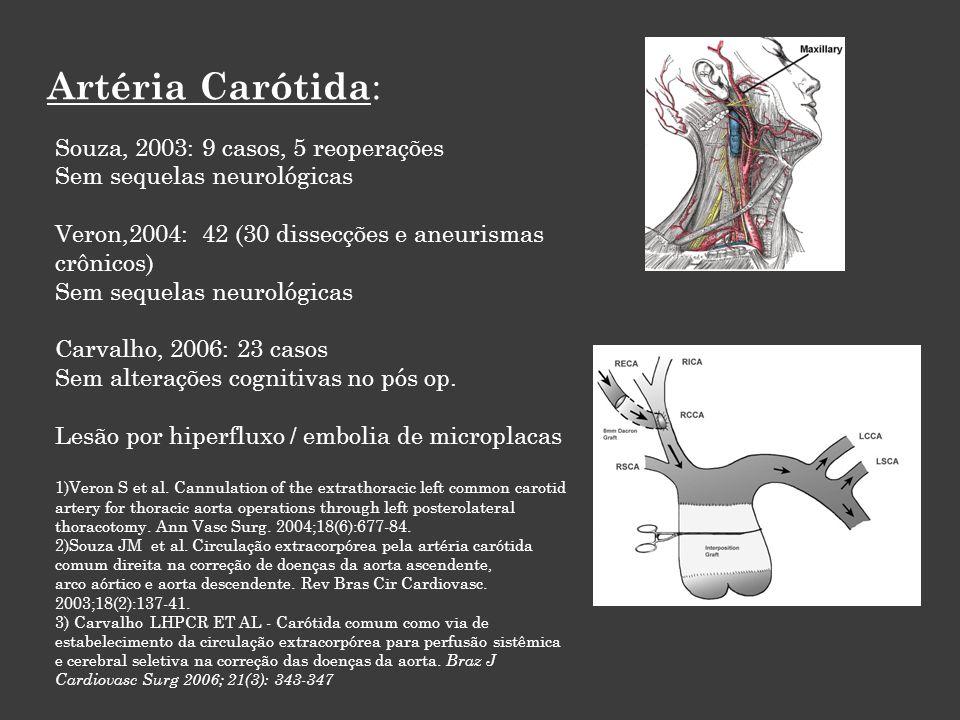 Artéria Carótida : Souza, 2003: 9 casos, 5 reoperações Sem sequelas neurológicas Veron,2004: 42 (30 dissecções e aneurismas crônicos) Sem sequelas neurológicas Carvalho, 2006: 23 casos Sem alterações cognitivas no pós op.