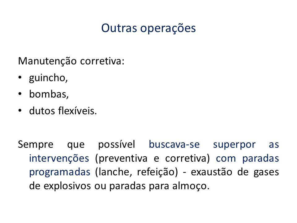 Outras operações Manutenção corretiva: guincho, bombas, dutos flexíveis. Sempre que possível buscava-se superpor as intervenções (preventiva e correti