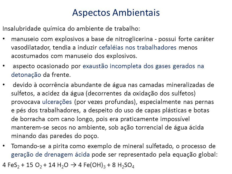 Aspectos Ambientais Insalubridade química do ambiente de trabalho: manuseio com explosivos a base de nitroglicerina - possui forte caráter vasodilatad