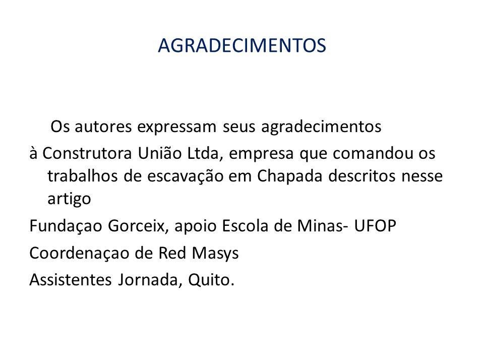 AGRADECIMENTOS Os autores expressam seus agradecimentos à Construtora União Ltda, empresa que comandou os trabalhos de escavação em Chapada descritos