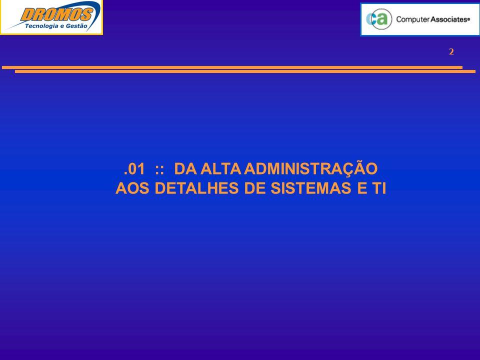 2.01 :: DA ALTA ADMINISTRAÇÃO AOS DETALHES DE SISTEMAS E TI