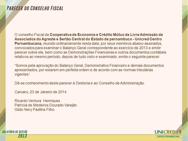 O conselho Fiscal da Cooperativa de Economia e Crédito Mútuo de Livre Admissão de Associados do Agreste e Sertão Central do Estado de pernambuco - Uni