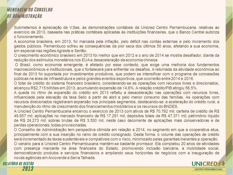 Submetemos à apreciação de V.Sas. as demonstrações contábeis da Unicred Centro Pernambucana, relativas ao exercício de 2013, baseada nas práticas cont