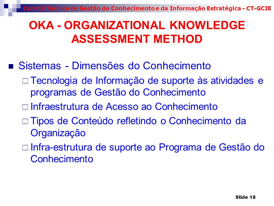Comitê Técnico de Gestão do Conhecimento e da Informação Estratégica - CT-GCIE Sistemas - Dimensões do Conhecimento  Tecnologia de Informação de suporte às atividades e programas de Gestão do Conhecimento  Infraestrutura de Acesso ao Conhecimento  Tipos de Conteúdo refletindo o Conhecimento da Organização  Infra-estrutura de suporte ao Programa de Gestão do Conhecimento OKA - ORGANIZATIONAL KNOWLEDGE ASSESSMENT METHOD Slide 18