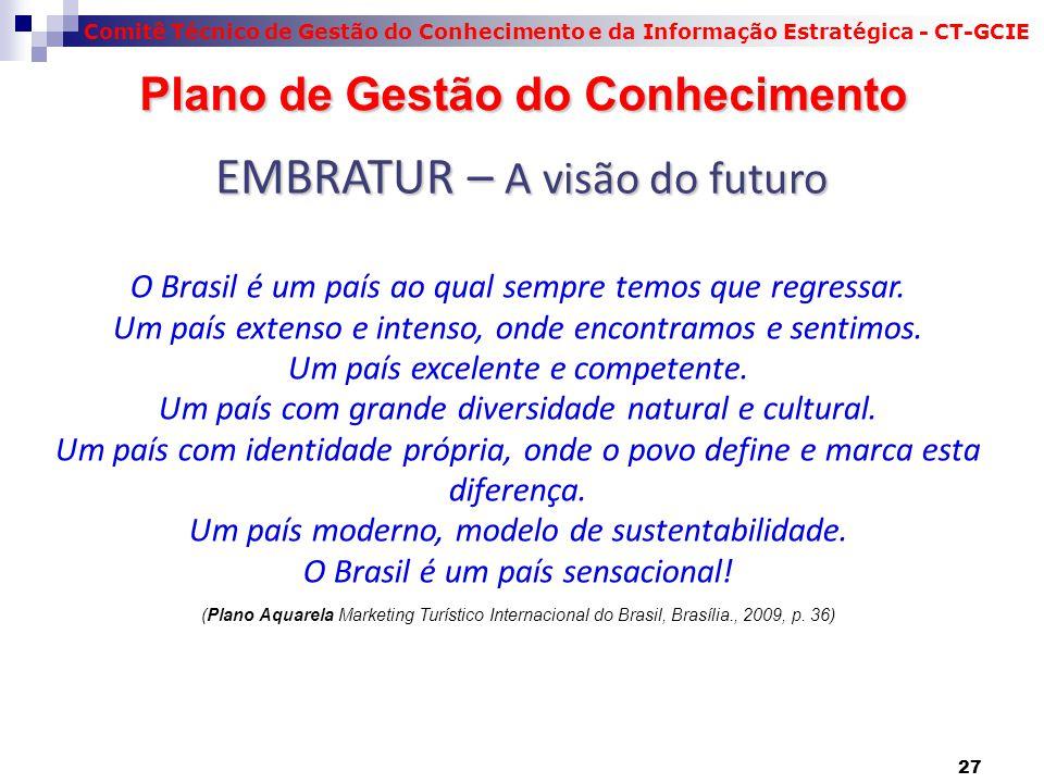 Comitê Técnico de Gestão do Conhecimento e da Informação Estratégica - CT-GCIE Plano de Gestão do Conhecimento Plano de Gestão do Conhecimento O Brasil é um país ao qual sempre temos que regressar.