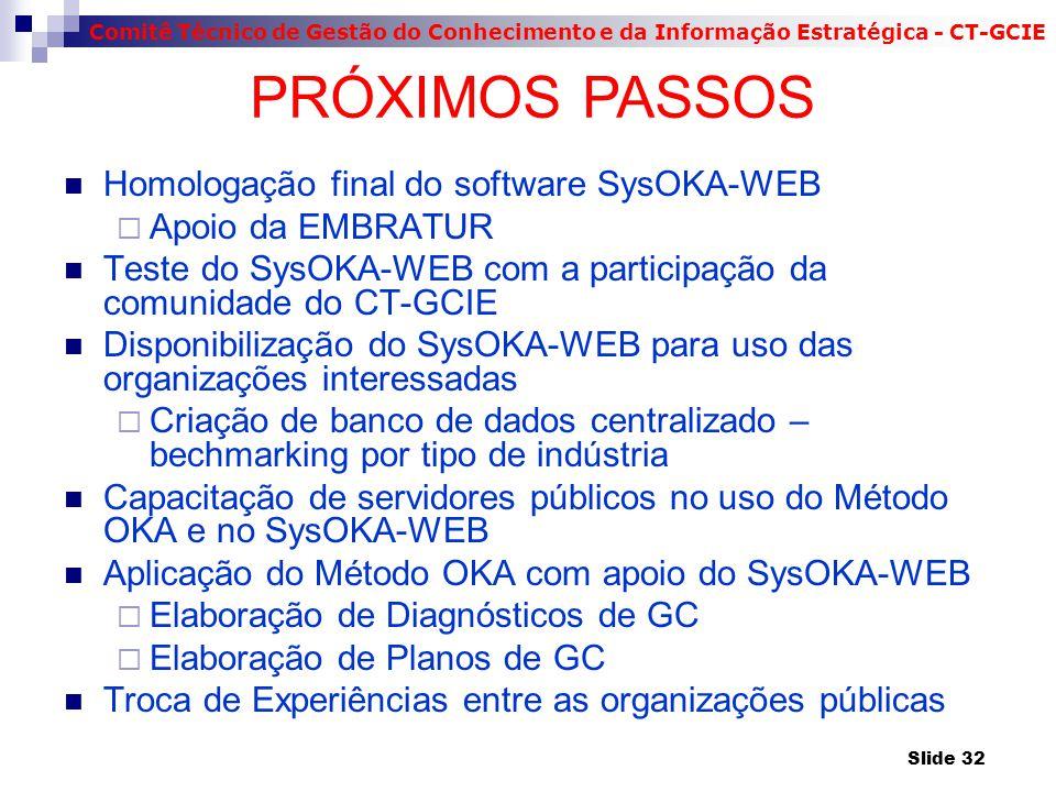 Comitê Técnico de Gestão do Conhecimento e da Informação Estratégica - CT-GCIE Homologação final do software SysOKA-WEB  Apoio da EMBRATUR Teste do S