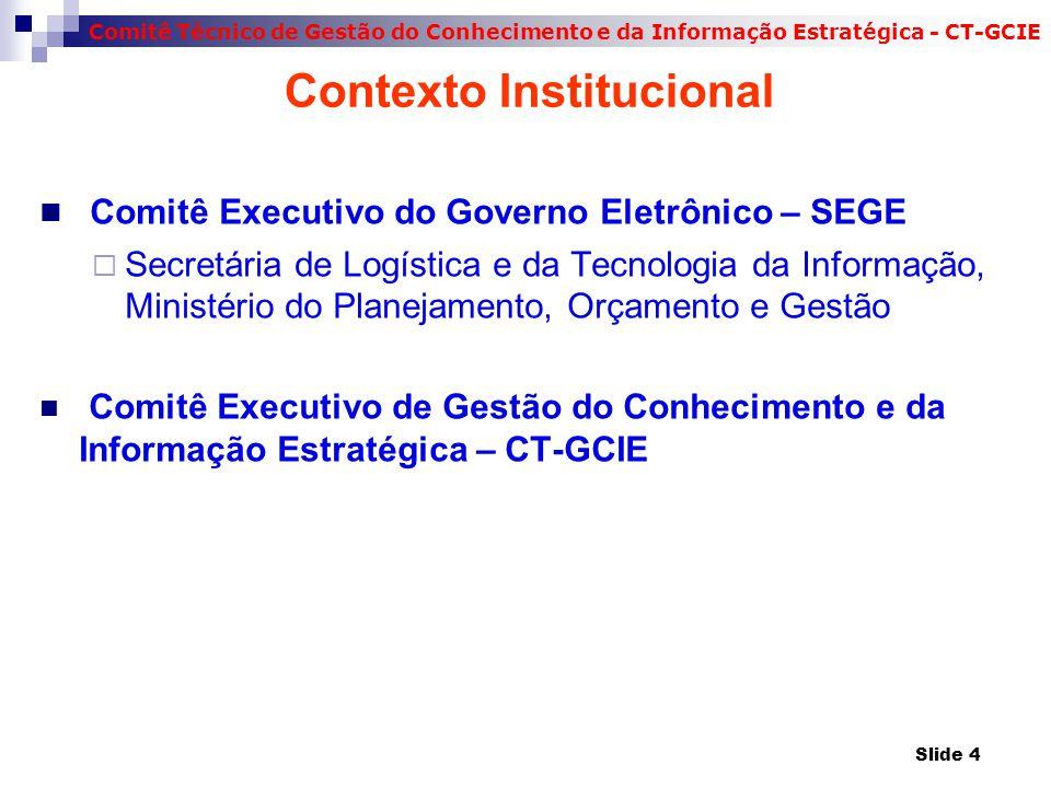 Comitê Técnico de Gestão do Conhecimento e da Informação Estratégica - CT-GCIE Contexto Institucional Comitê Executivo do Governo Eletrônico – SEGE  Secretária de Logística e da Tecnologia da Informação, Ministério do Planejamento, Orçamento e Gestão Comitê Executivo de Gestão do Conhecimento e da Informação Estratégica – CT-GCIE Slide 4