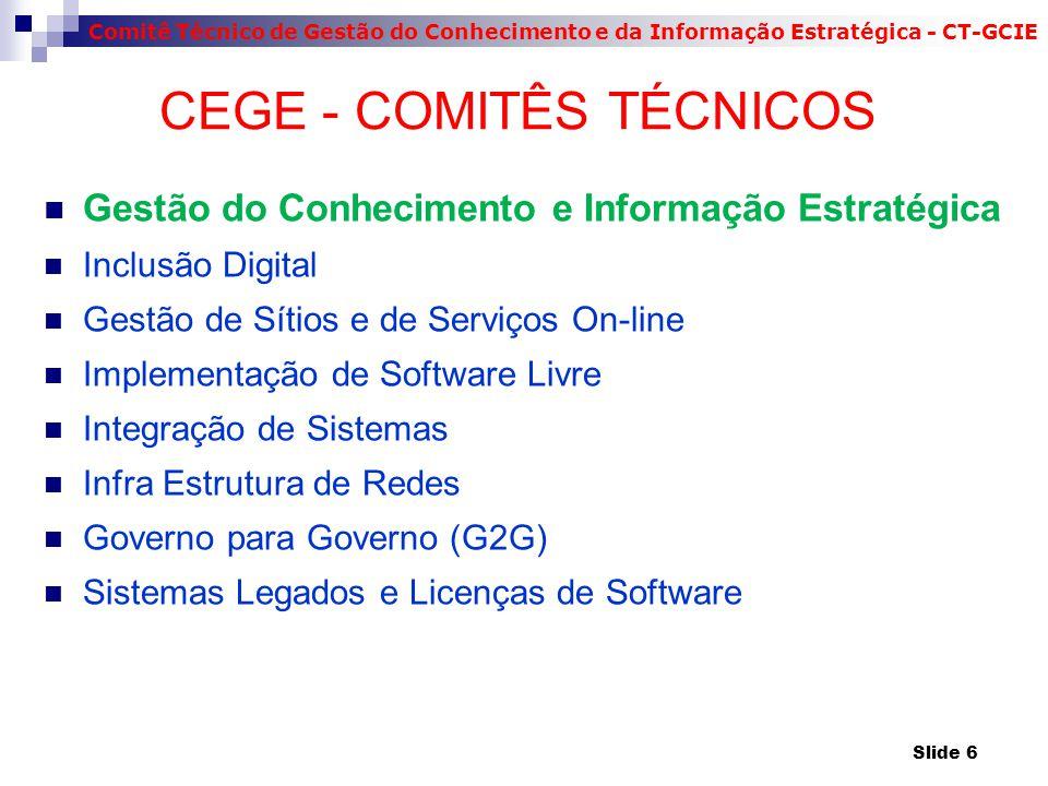 Comitê Técnico de Gestão do Conhecimento e da Informação Estratégica - CT-GCIE CEGE - COMITÊS TÉCNICOS Gestão do Conhecimento e Informação Estratégica Inclusão Digital Gestão de Sítios e de Serviços On-line Implementação de Software Livre Integração de Sistemas Infra Estrutura de Redes Governo para Governo (G2G) Sistemas Legados e Licenças de Software Slide 6