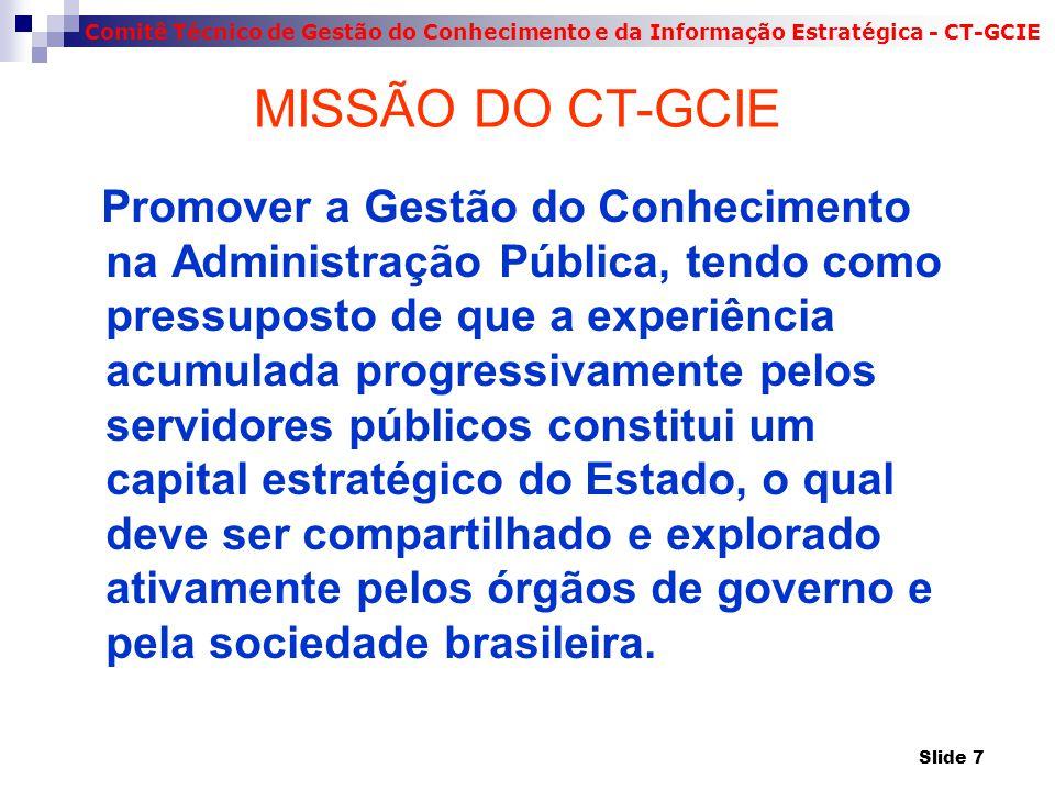 Comitê Técnico de Gestão do Conhecimento e da Informação Estratégica - CT-GCIE MISSÃO DO CT-GCIE Promover a Gestão do Conhecimento na Administração Pú