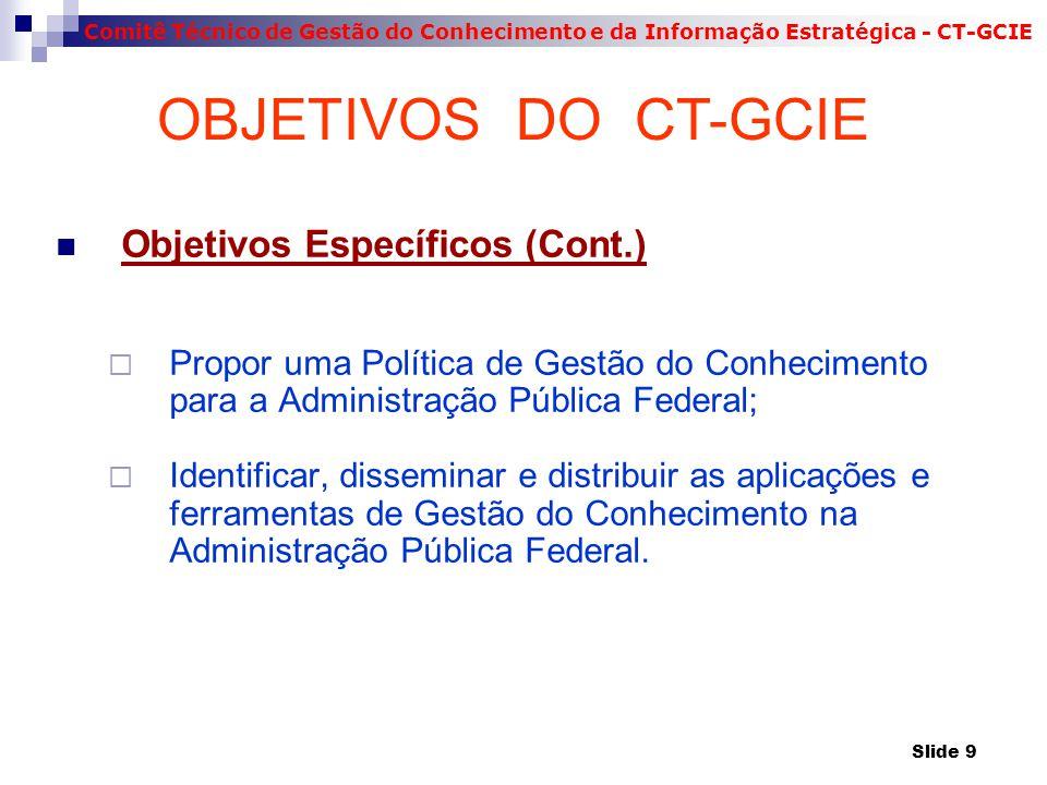 Comitê Técnico de Gestão do Conhecimento e da Informação Estratégica - CT-GCIE Objetivos Específicos (Cont.)  Propor uma Política de Gestão do Conhec