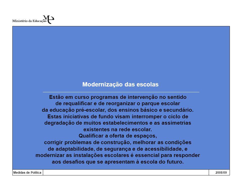 Modernização das escolas Medidas de Política2008/09 Estão em curso programas de intervenção no sentido de requalificar e de reorganizar o parque escol