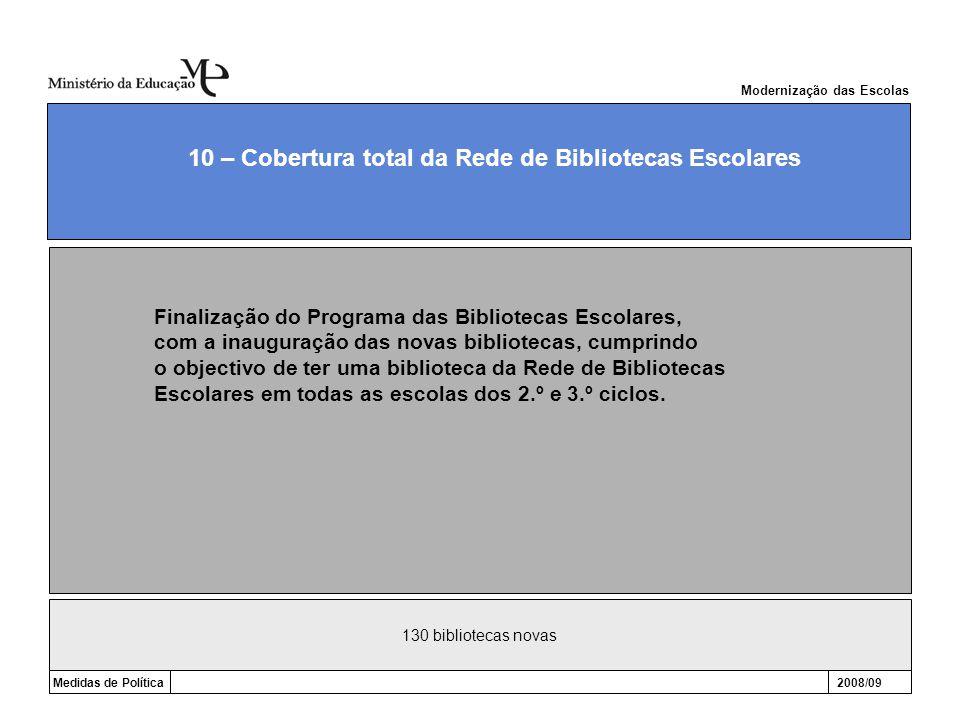 130 bibliotecas novas Medidas de Política2008/09 10 – Cobertura total da Rede de Bibliotecas Escolares Modernização das Escolas Finalização do Program