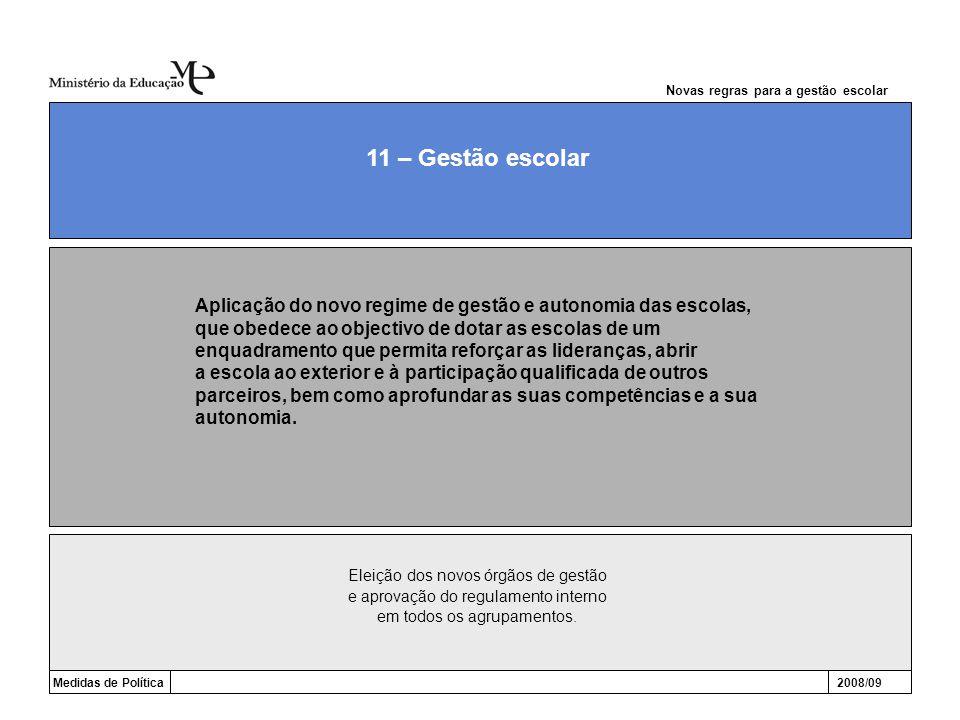 Medidas de Política2008/09 11 – Gestão escolar Aplicação do novo regime de gestão e autonomia das escolas, que obedece ao objectivo de dotar as escola