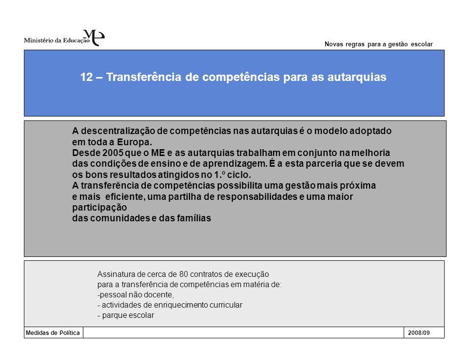 Medidas de Política2008/09 12 – Transferência de competências para as autarquias Novas regras para a gestão escolar Assinatura de cerca de 80 contrato