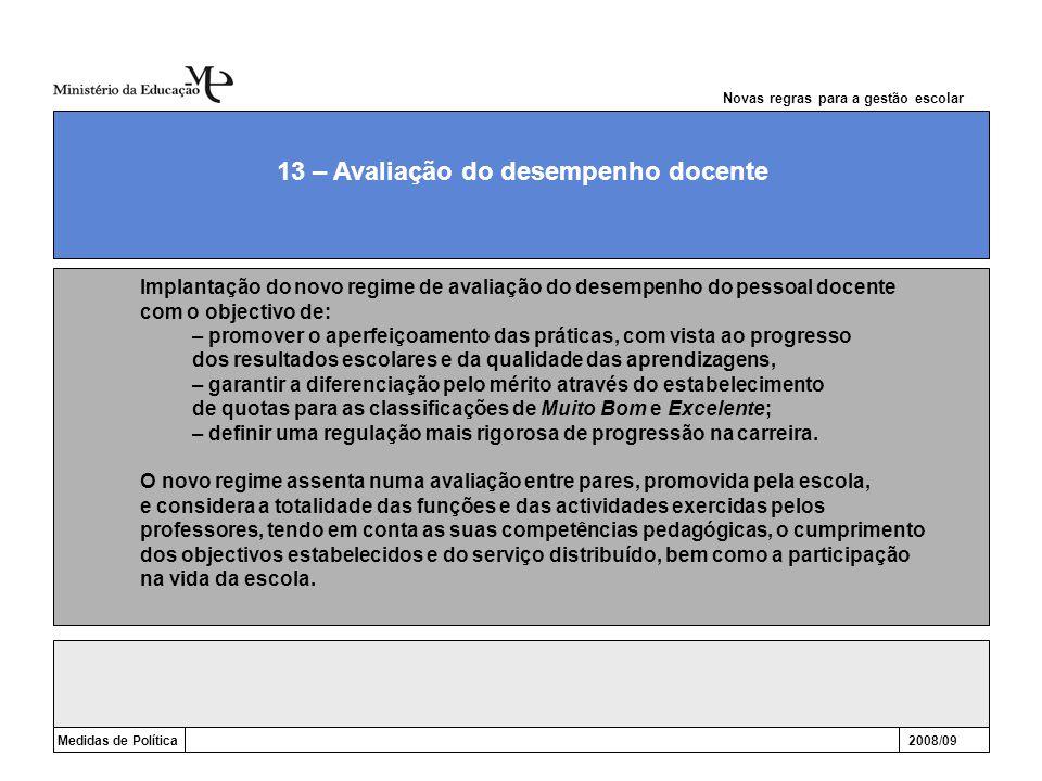 Novas regras para a gestão escolar Medidas de Política2008/09 13 – Avaliação do desempenho docente Implantação do novo regime de avaliação do desempen