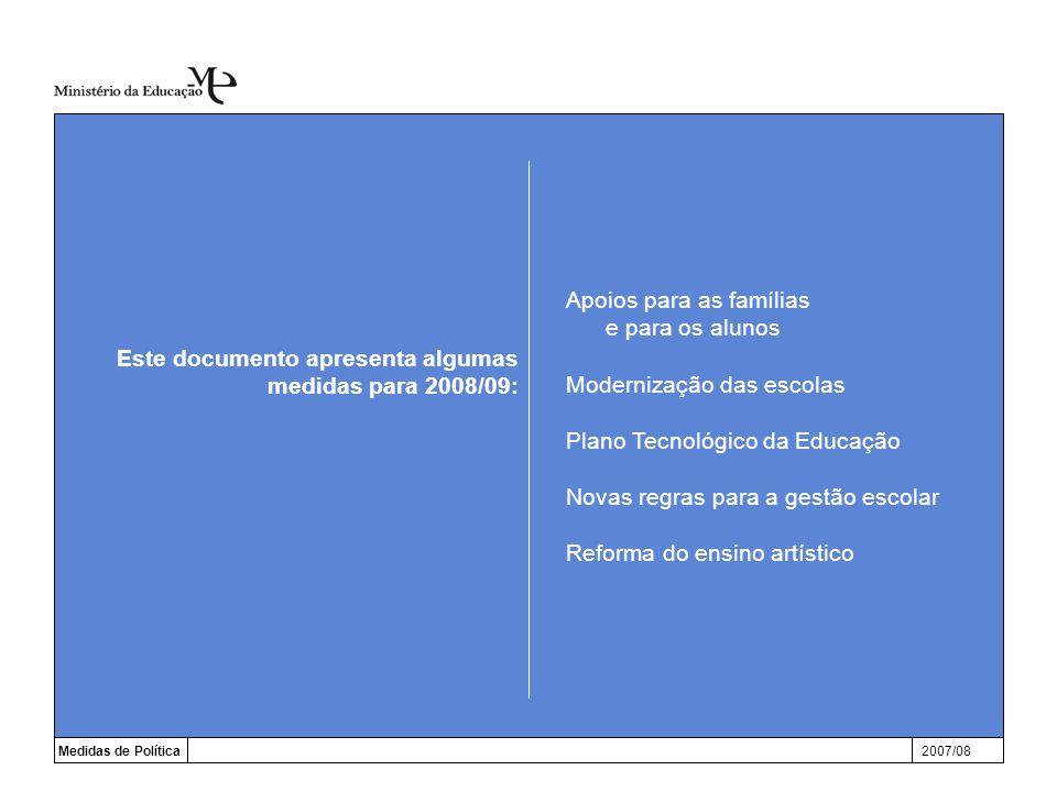 Apoios para as famílias e para os alunos Modernização das escolas Plano Tecnológico da Educação Novas regras para a gestão escolar Reforma do ensino artístico Medidas de Política2007/08 Este documento apresenta algumas medidas para 2008/09: