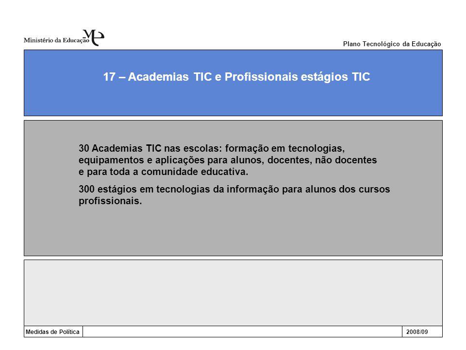 Medidas de Política2008/09 17 – Academias TIC e Profissionais estágios TIC Plano Tecnológico da Educação 30 Academias TIC nas escolas: formação em tec