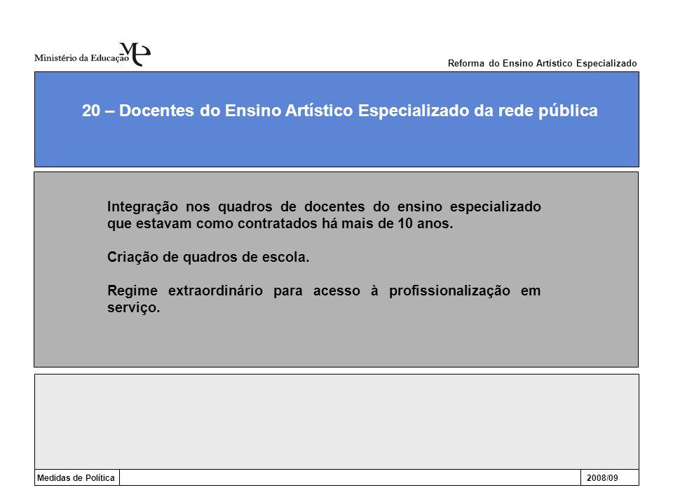 Medidas de Política2008/09 20 – Docentes do Ensino Artístico Especializado da rede pública Integração nos quadros de docentes do ensino especializado