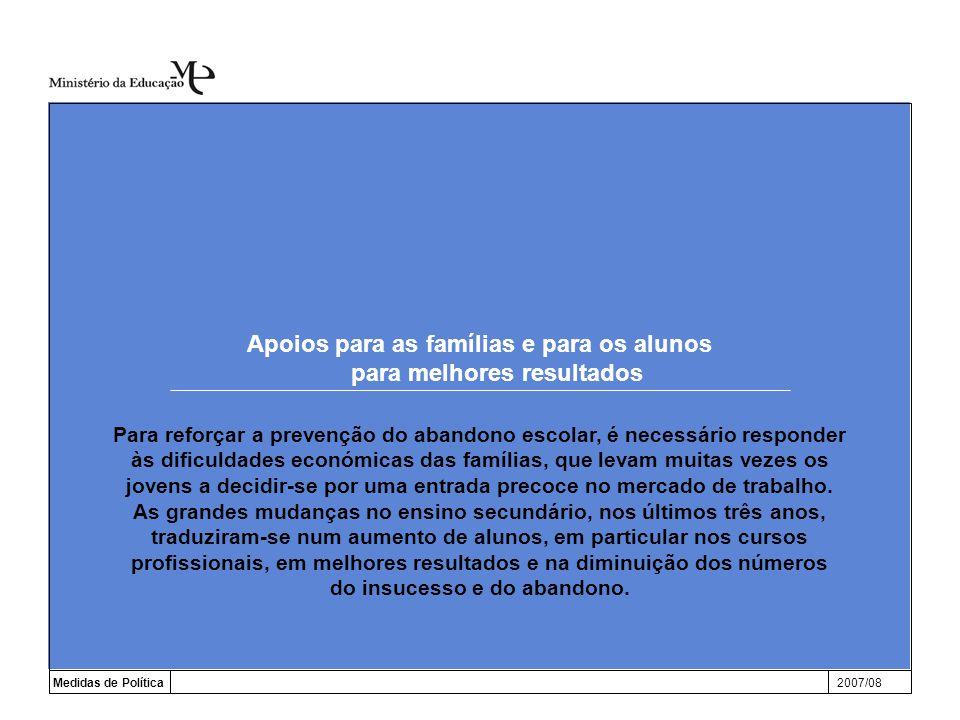 Apoios para as famílias e para os alunos para melhores resultados Medidas de Política2007/08 Para reforçar a prevenção do abandono escolar, é necessár