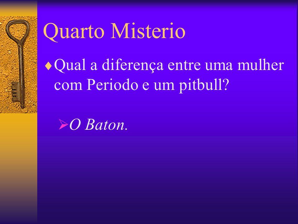 Quarto Misterio  Qual a diferença entre uma mulher com Periodo e um pitbull?  O Baton.