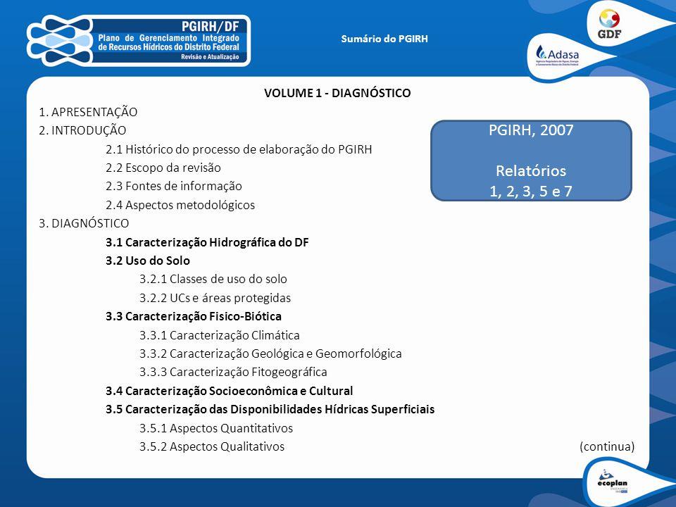 Sumário do PGIRH VOLUME 1 – DIAGNÓSTICO (continuação) 3.