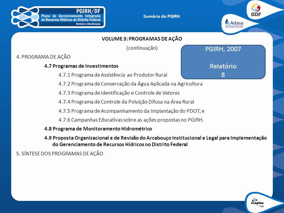 VOLUME 3: PROGRAMAS DE AÇÃO (continuação) 4. PROGRAMA DE AÇÃO 4.7 Programas de Investimentos 4.7.1 Programa de Assistência ao Produtor Rural 4.7.2 Pro