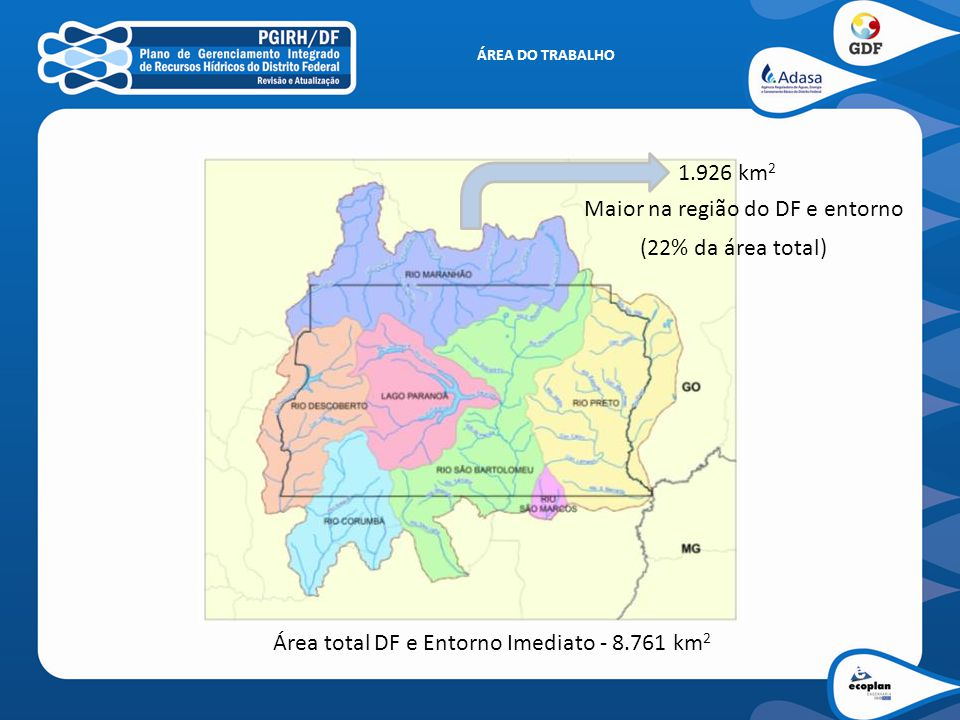 ÁREA DO TRABALHO 1.926 km 2 Área total DF e Entorno Imediato - 8.761 km 2 Maior na região do DF e entorno (22% da área total)