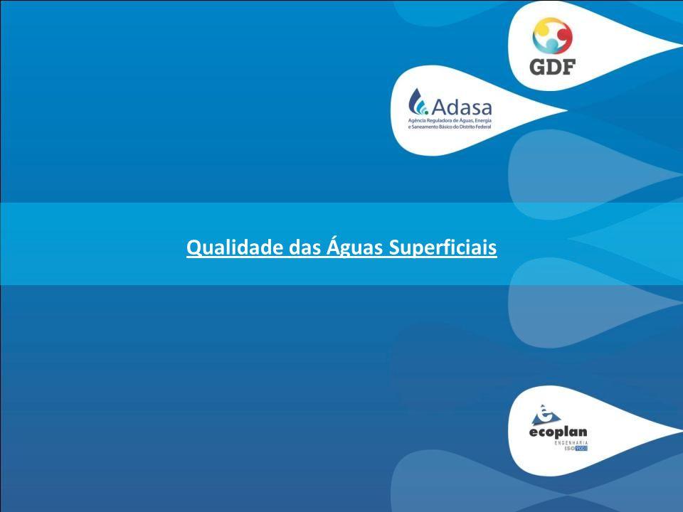 QUALIDADE DAS ÁGUAS SUPERFICIAIS Objetivos da atualização do diagnóstico da qualidade das águas superficiais, no âmbito do PGIRH -Atualização dos dados de qualidade das águas superficiais disponibilizados pelas operadoras existentes na área de estudo (ADASA e CAESB) -Diagnóstico da qualidade e balneabilidade das águas superficiais em função das Resoluções CONAMA 357/2005 e CONAMA 274/2000 e da configuração de Uso e Ocupação do Solo; -Utilização de um Índice de Qualidade das Águas – IQA, determinado em conjunto com a equipe da ADASA; -Apresentação de forma resumida da metodologia de tratamento dos dados existentes a ser utilizada para a realização do prognóstico da qualidade das águas superficiais na área de estudo.