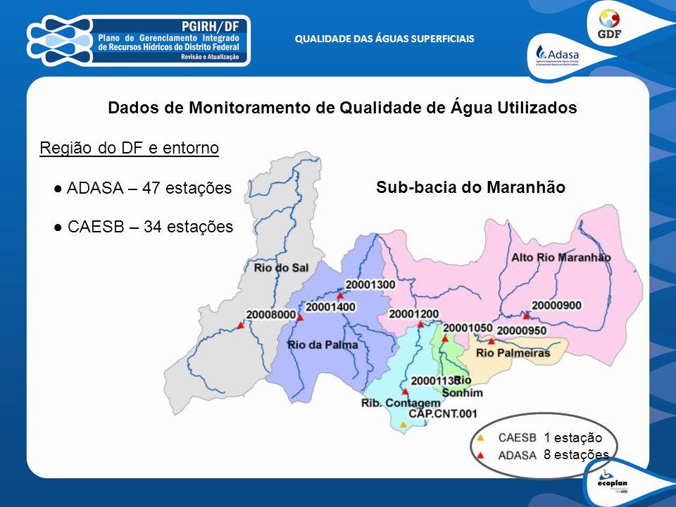 QUALIDADE DAS ÁGUAS SUPERFICIAIS Dados de Monitoramento de Qualidade de Água Utilizados Região do DF e entorno ● ADASA – 47 estações ● CAESB – 34 esta