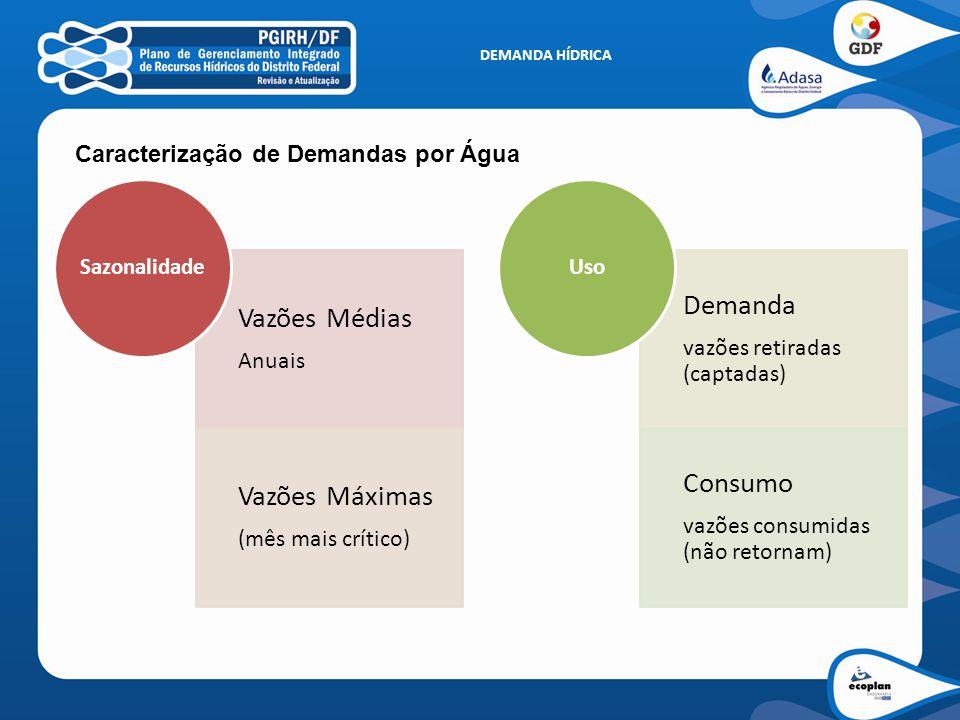 DEMANDA HÍDRICA Caracterização de Demandas por Água Vazões Médias Anuais Vazões Máximas (mês mais crítico) Sazonalidade Demanda vazões retiradas (capt