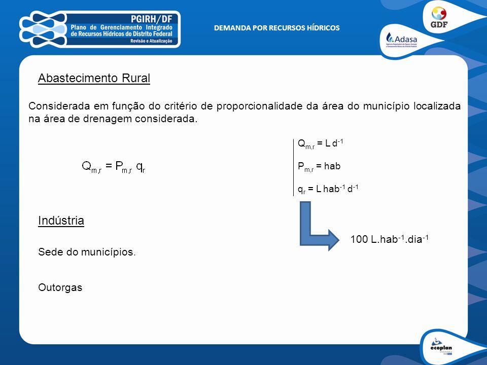 Abastecimento Rural Considerada em função do critério de proporcionalidade da área do município localizada na área de drenagem considerada. Q m,r = L