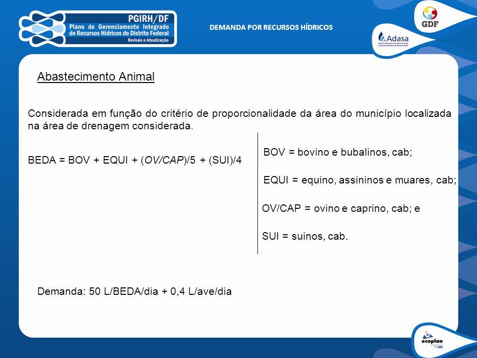 Abastecimento Animal Considerada em função do critério de proporcionalidade da área do município localizada na área de drenagem considerada. BEDA = BO