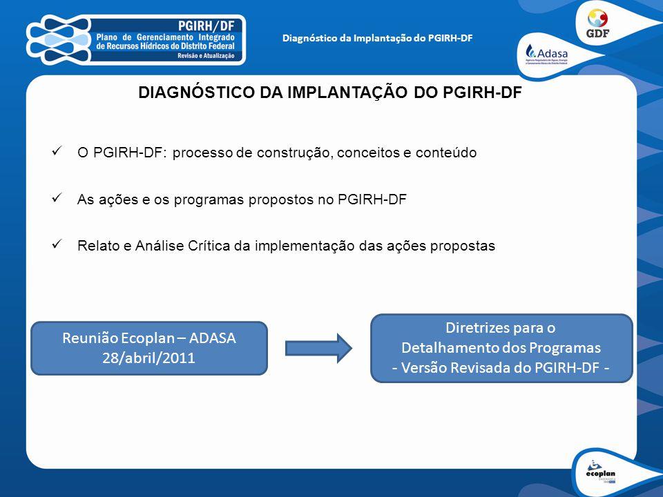 Diagnóstico da Implantação do PGIRH-DF DIAGNÓSTICO DA IMPLANTAÇÃO DO PGIRH-DF O PGIRH-DF: processo de construção, conceitos e conteúdo As ações e os p