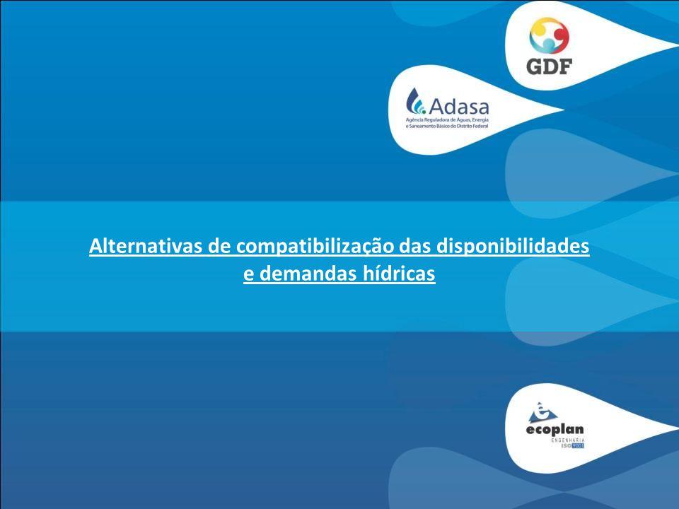 Alternativas de compatibilização das disponibilidades e demandas hídricas Alternativas para incremento das disponibilidades – barragens e transposição; Plano Diretor de Água e Esgoto do Distrito Federal (CAESB); Projeto de Aproveitamento Hidroagrícola da Bacia do Rio Preto; Plano Diretor de Ordenamento Territorial (PDOT); Plano Diretor de Resíduos Sólidos do Distrito Federal (PDRSDF); Plano de Diretor de Drenagem Urbana (PDDU); Medidas de Gestão da Bacia do Pipiripau.