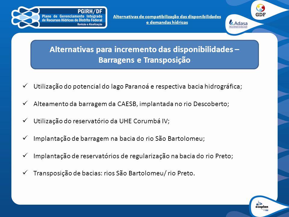 Utilização do potencial do lago Paranoá e respectiva bacia hidrográfica; Alteamento da barragem da CAESB, implantada no rio Descoberto; Utilização do