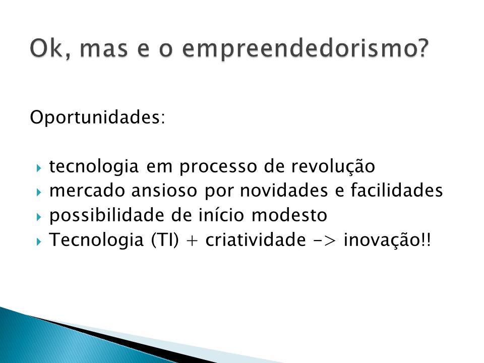 Oportunidades:  tecnologia em processo de revolução  mercado ansioso por novidades e facilidades  possibilidade de início modesto  Tecnologia (TI)