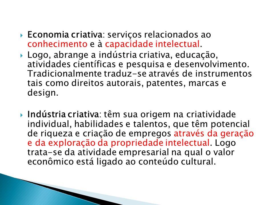  Economia criativa: serviços relacionados ao conhecimento e à capacidade intelectual.  Logo, abrange a indústria criativa, educação, atividades cien