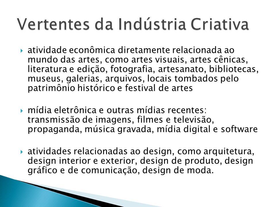  atividade econômica diretamente relacionada ao mundo das artes, como artes visuais, artes cênicas, literatura e edição, fotografia, artesanato, bibl