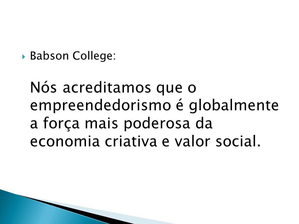  Babson College: Nós acreditamos que o empreendedorismo é globalmente a força mais poderosa da economia criativa e valor social.