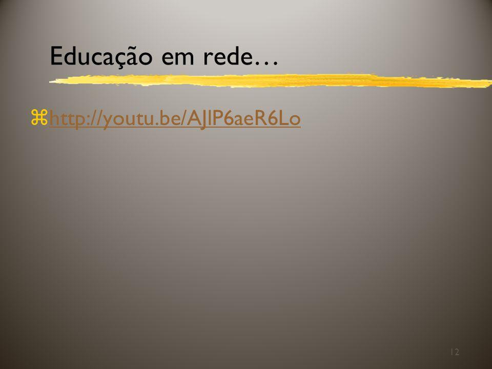 Educação em rede… zhttp://youtu.be/AJlP6aeR6Lohttp://youtu.be/AJlP6aeR6Lo 12