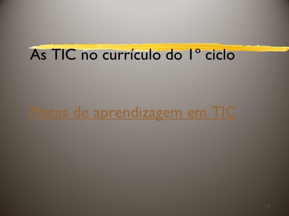 As TIC no currículo do 1º ciclo Metas de aprendizagem em TIC Metas de aprendizagem em TIC 14