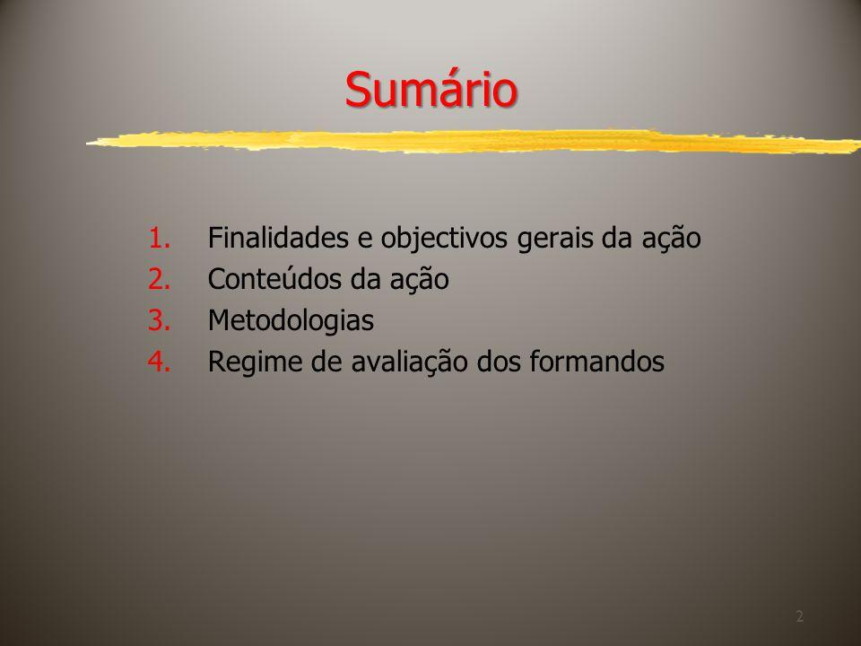 2 Sumário 1.Finalidades e objectivos gerais da ação 2.Conteúdos da ação 3.Metodologias 4.Regime de avaliação dos formandos