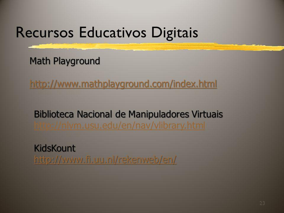 23 Recursos Educativos Digitais Math Playground http://www.mathplayground.com/index.html Biblioteca Nacional de Manipuladores Virtuais http://nlvm.usu