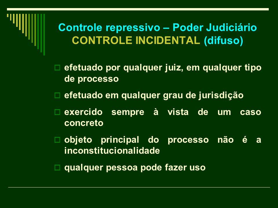 Controle repressivo – Poder Judiciário CONTROLE INCIDENTAL (difuso)  efetuado por qualquer juiz, em qualquer tipo de processo  efetuado em qualquer grau de jurisdição  exercido sempre à vista de um caso concreto  objeto principal do processo não é a inconstitucionalidade  qualquer pessoa pode fazer uso