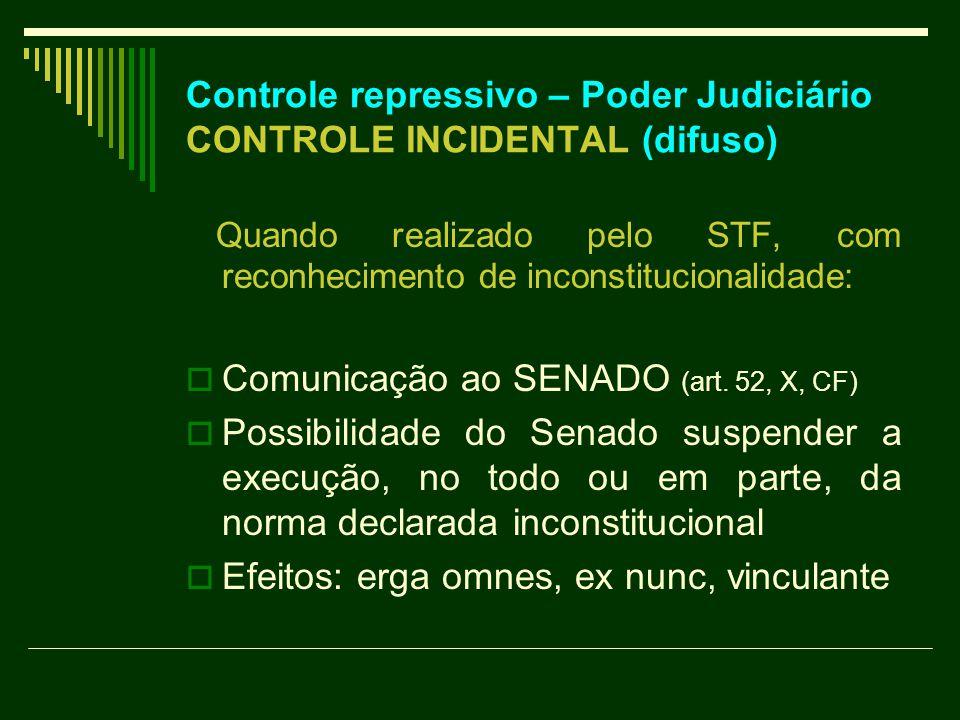 Controle repressivo – Poder Judiciário CONTROLE INCIDENTAL (difuso) Quando realizado pelo STF, com reconhecimento de inconstitucionalidade:  Comunicação ao SENADO (art.